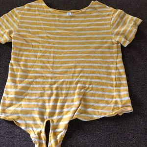 Tops - yellow and white striped top